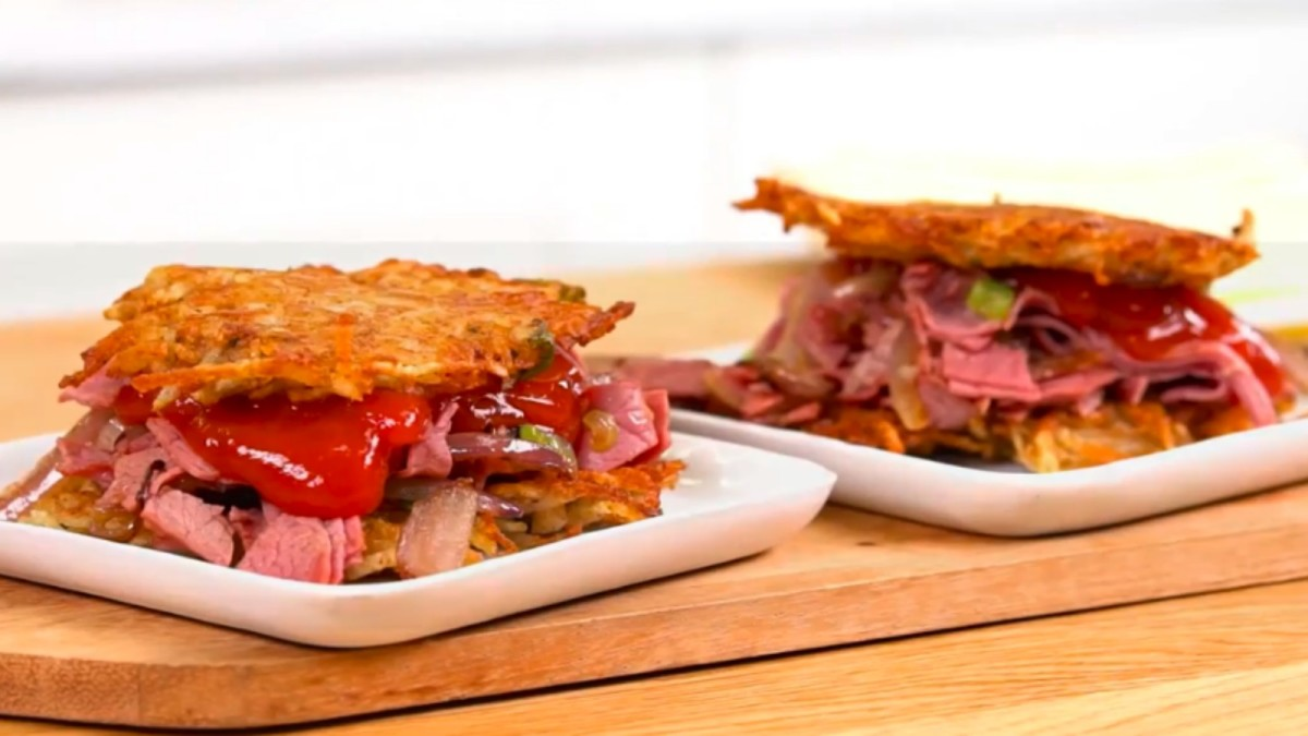 Scallion and Corned Beef Latke Sliders