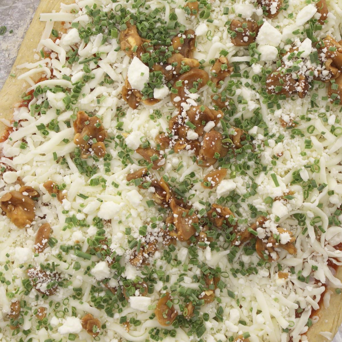 mushroom chive goat cheese pizza