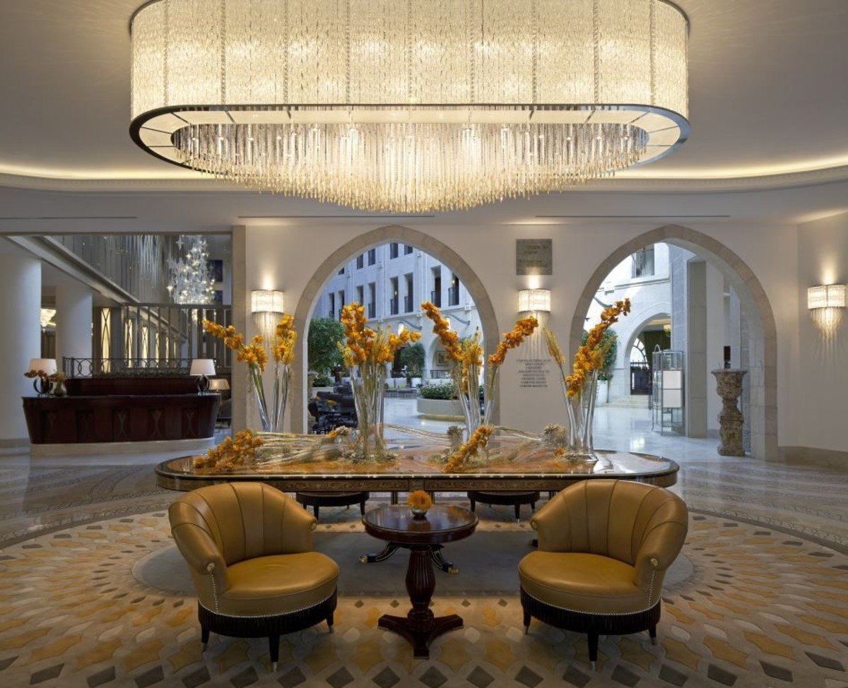 The Waldorf Astoria Jerusalem lobby, check out that chandelier!