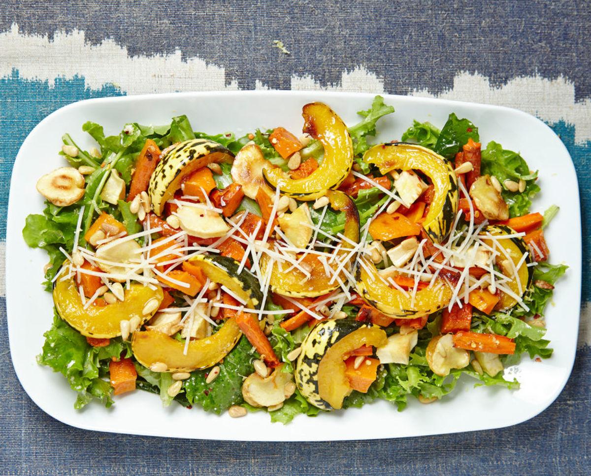 Roasted Root Vegetable Salad with Lemon Parmesan Dressing