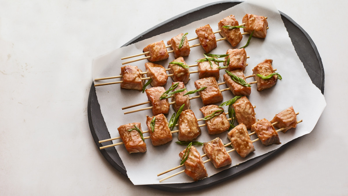 Miso Glazed Salmon Skewers