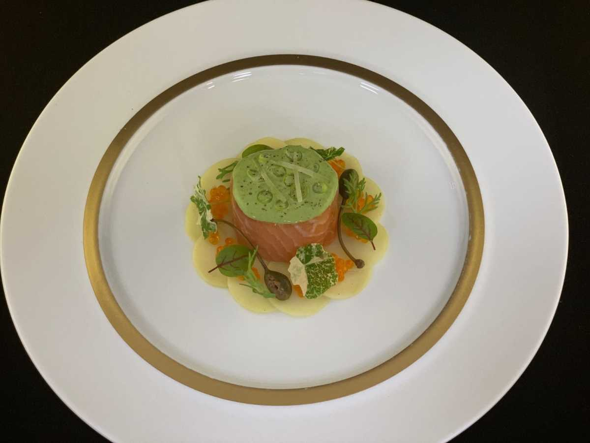 SALMON BALLOTINE ACCOMPANIED BY FRESH HERB CREAM, CAPERS AND LEMON ZEST