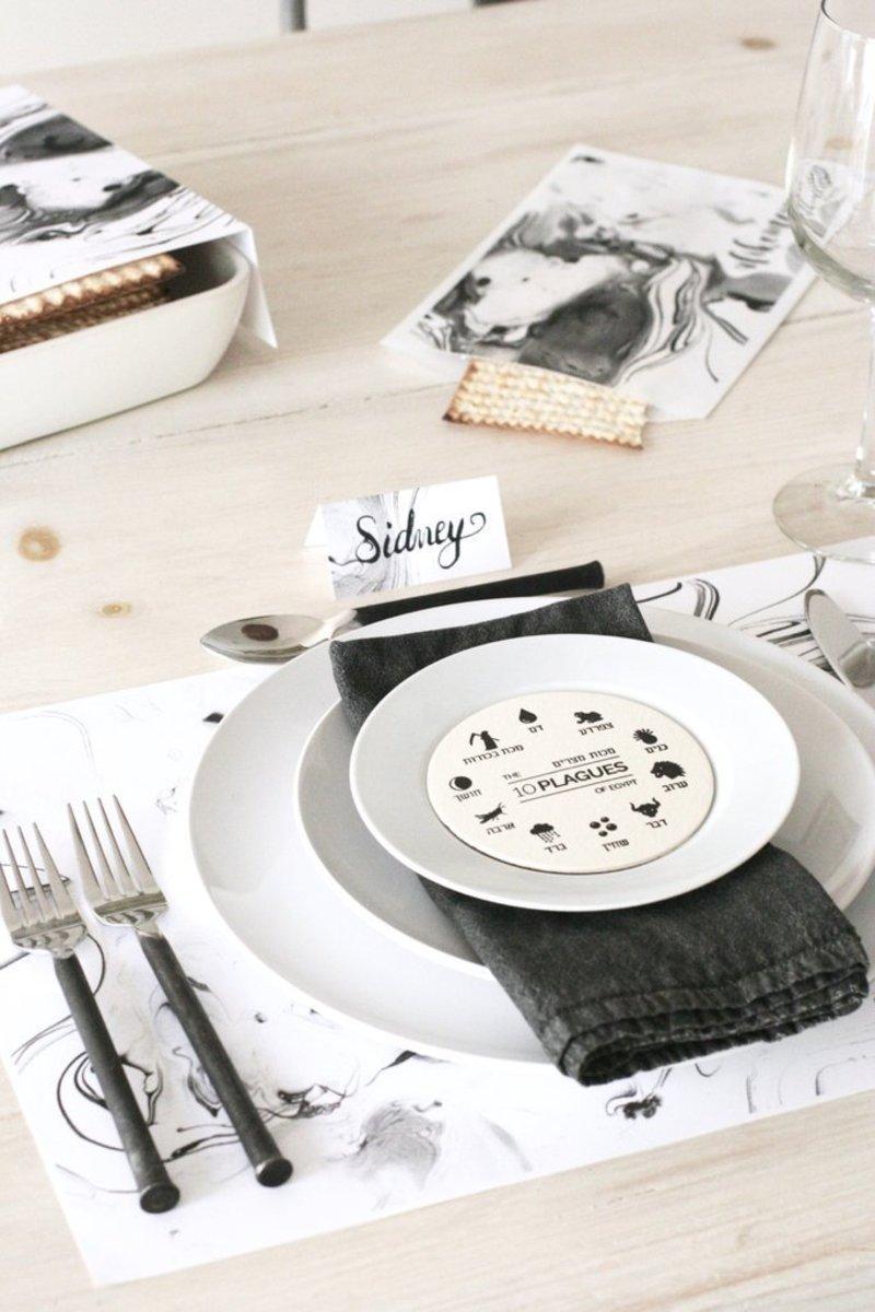 marble seder table set